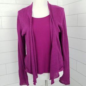 Eileen Fisher Cardigan Sweater & Tank Top Large